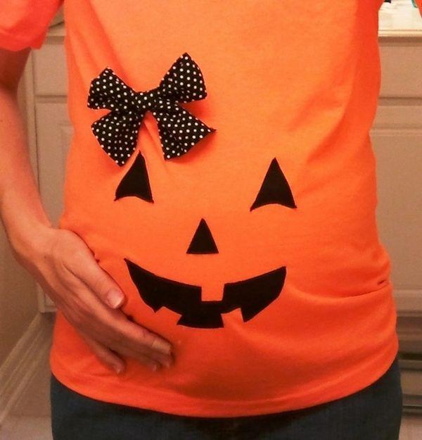 Halloween kostuum zwangere pompoen