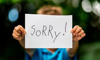 kind sorry zeggen