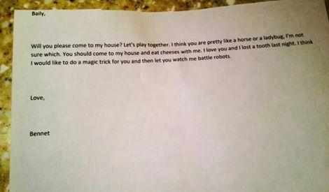 Schattig: liefdesbrief van 4-jarige