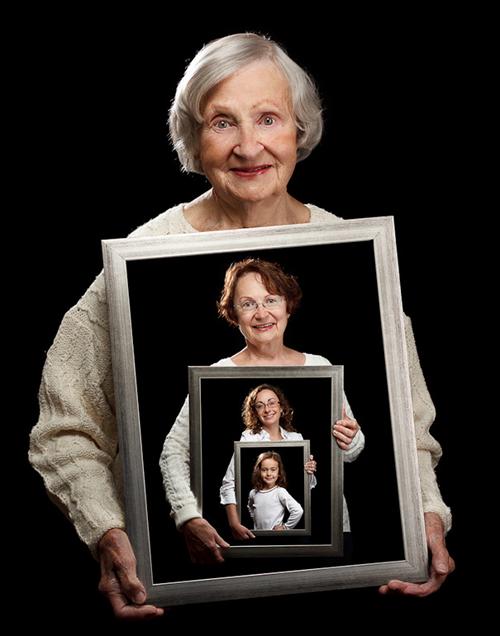 4 generaties in fotolijst