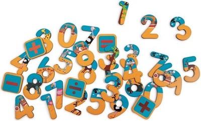 Magnetische houten cijfers safari thema