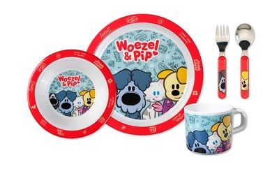 Woezel & Pip kinderservies - Rood - 5-delig
