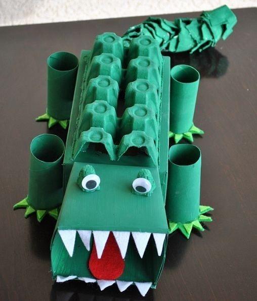 krokodil van eierdoos