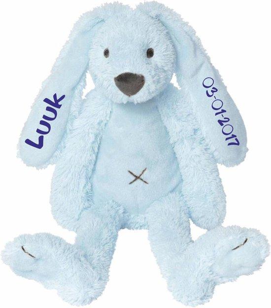 Kraamkado knuffel konijn Rabbit Richie blauw met naam