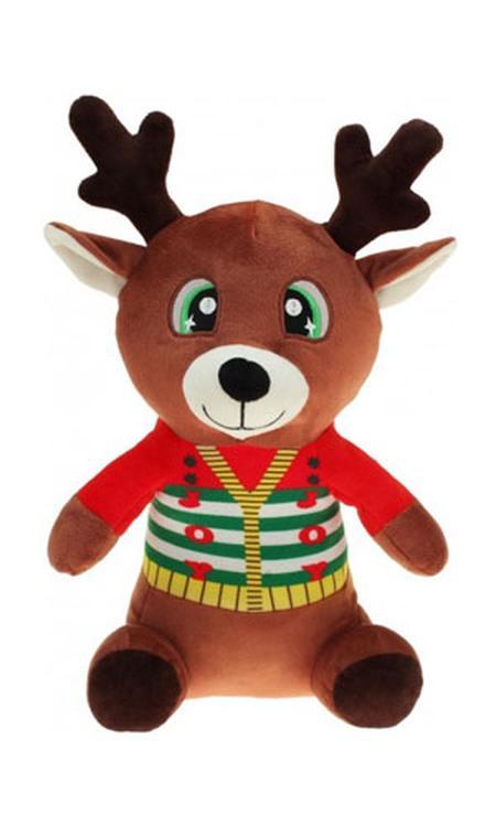 Pluche rendier knuffel 30 cm - Kerstknuffels/kerstknuffeltjes - pluche rendieren knuffel voor kinderen