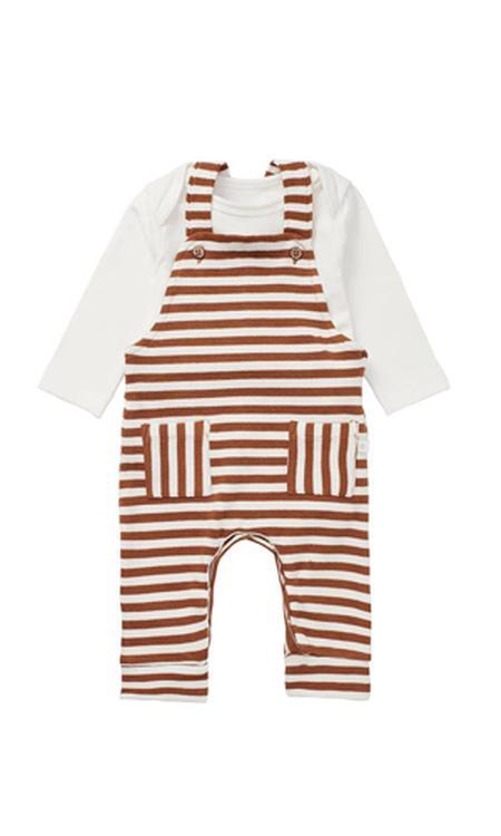 Noppies newborn baby tuinbroek + romper bruin/ecru