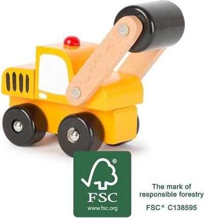 Houten speelgoed bouwauto