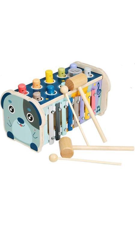 Hammie Hamster - 3 in 1 Houten Speelgoed Xylofoon en Hamerbank