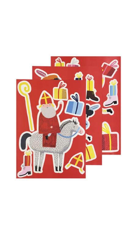 raamstickers XL Sinterklaas 42x30 - 3 vel