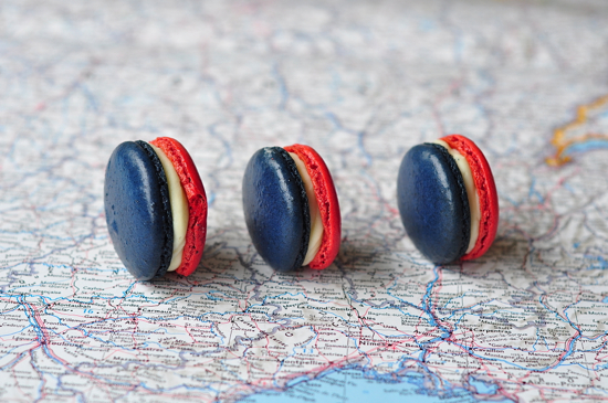french flag macarons blue white red