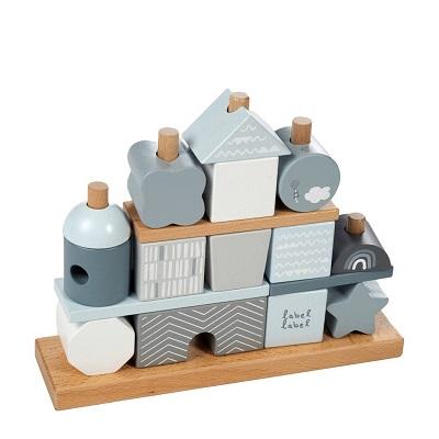 Label Label houten speelgoed stapelblokken blauw
