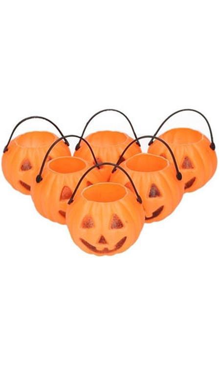 6x Halloween mini pompoen emmers 5 cm
