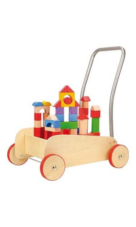 Blokkenkar hout - Met rubberen bandjes - leren lopen en leren bouwen!