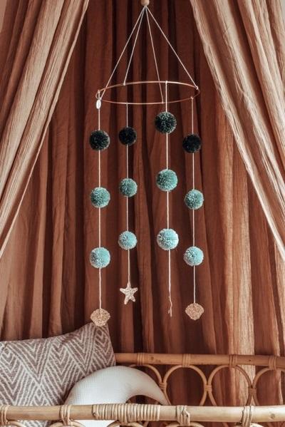 Cotton design pom pom mobiel seashell