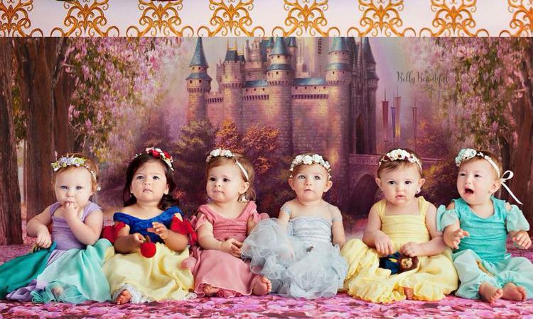 Pasgeboren Disney-prinsesjes die viral gingen, opnieuw op de foto