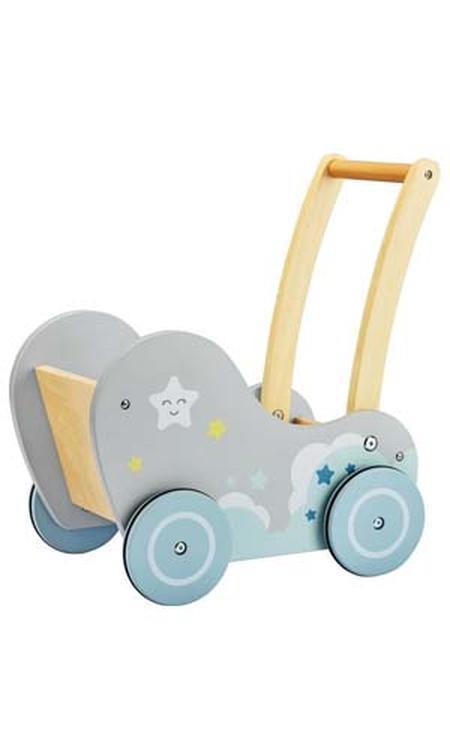 Mamabrum Houten Baby Walker - Loopkarretje Duwkar - Duw Wagen Kar -