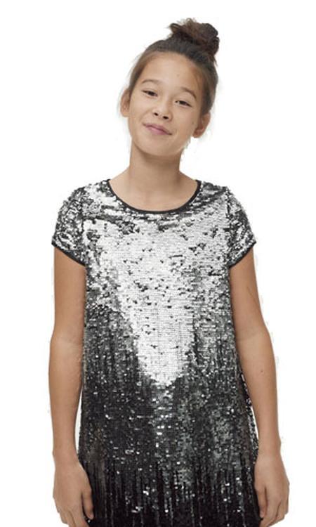 Ellos pailletten jurk Agda zilver/zwart