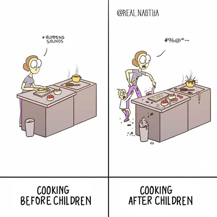 cartoon leven als een moeder