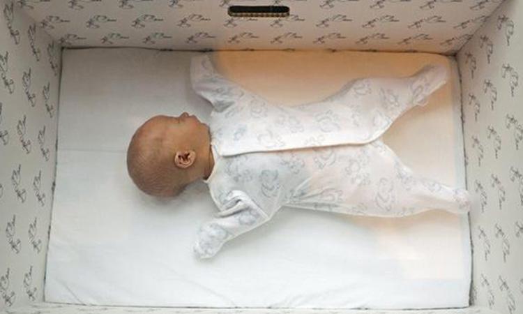 Finse baby's slapen in kartonnen doos