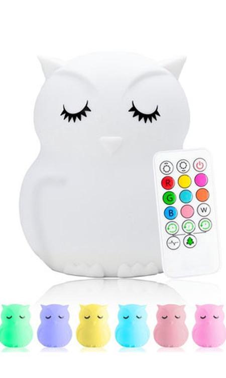 Sleepy Friends® 8 kleurige LED Nachtlampje kinderen - Uiltje - Nachtlampje baby - Oplaadbaar - Dimbaar tafellamp voor de slaapkamer
